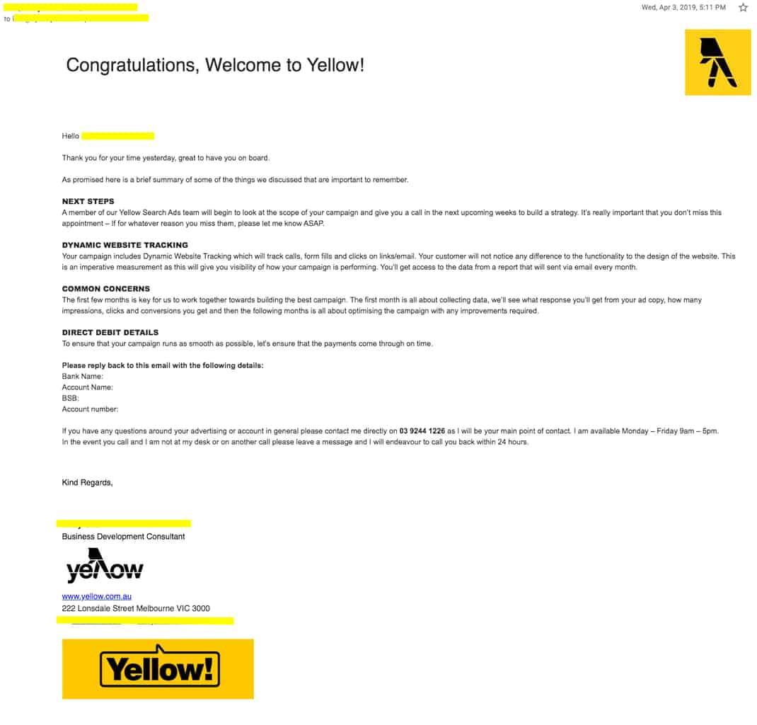 Sensis Yellow SEM Confirmation eMail photo
